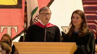 Bill and Melinda Gates deliver the 2014 commencement address at Stanford University on June 15, 2014. Screengrab from Stanford webcast