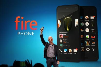 Jeff Bezos with Amazon's Fire phone