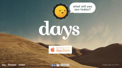 The landing page for Wander's Days app, as pictured on Feb. 11, 2014.