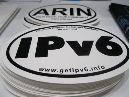 The American Registry for Internet Numbers gave out IPv6 stickers at its meeting last week in San Francisco.