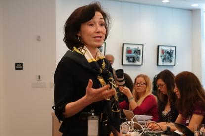 Oracle Co-CEO Safra Catz spoke Thursday at a press event at Oracle headquarters in Redwood Shores, California.