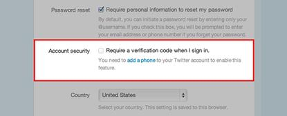 Turn on two-factor authentication from Twitter's Account Settings page