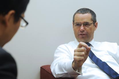 Senator Stephen Conroy is interviewed by ARN's David Ramli