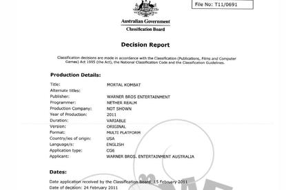 Part of the Classification Board's decision document regarding Mortal Kombat.