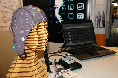 """By staring at letters on a screen, persons suffering from """"locked-in syndrome"""" can type messages one character at a time using Guger Technologies' intendiX brain-computer interface"""