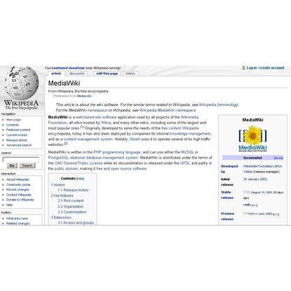MediaWiki is a popular open source wiki and is used for WikiPedia
