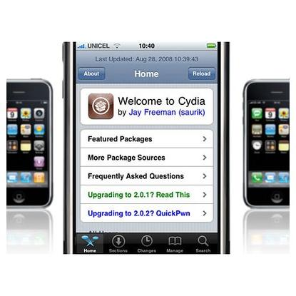 """<b>Cydia PwnageTool</b>  Cydia, the package manager for jailbreak apps, is the very model of a major modern manager. It's slick and quick, and it installs apps and updates faster than Apple's App Store. You do need to jailbreak your iPhone to use Cydia or any of the unofficial iPhone apps, but this is where it all starts. Free download and jailbreak instructions at <a href=""""http://blog.iphone-dev.org/"""">blog.iphone-dev.org.</a>"""
