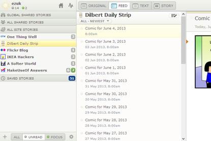 NewsBlur's three-pane interface takes advantage of modern-day wide screens.