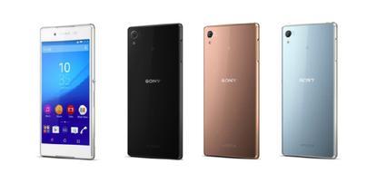 Sony Xperia Z4 (from left: White, Black, Copper, Aqua Green)