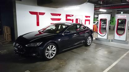A Tesla Model S 85 charging at The Star casino, Sydney.