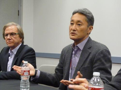 Sony CEO and president Kaz Hirai (right) and Mike Fasulo, president and chief operating officer of Sony Electronics, speak with reporters at CES in Las Vegas on January 7, 2014.