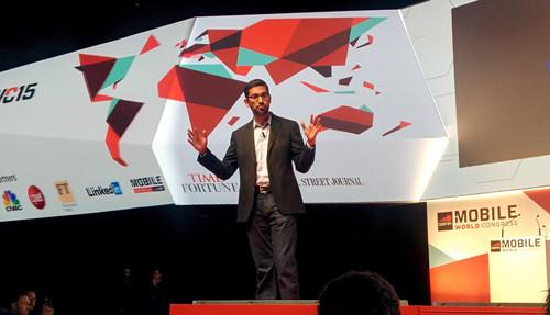Google senior vice president Sundar Pichai on stage at Mobile World Congress in Barcelona on Monday, March 2, 2015