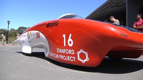 Stanford University's Luminos solar car on show on July 9, 2013.