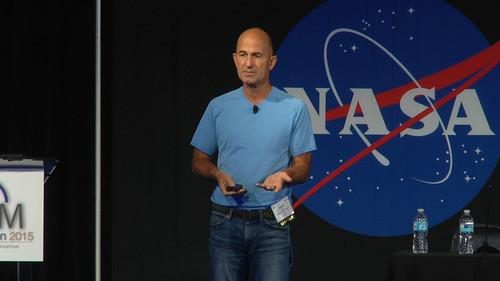 Dave Vos, head of Google's Project Wing, speaks at a drone conference at NASA Ames Research Center in Moffett Field, California, on July 29, 2015.