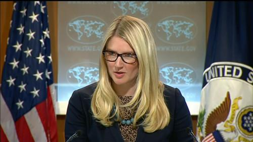 Marie Harf, State Dept. spokeswoman, speaks at a news conference on July 31, 2014