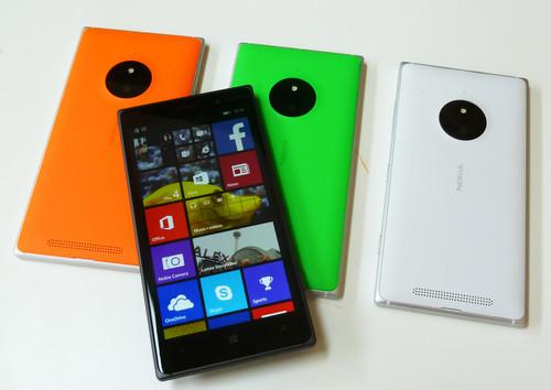 The Nokia 830 smartphone, in four colors, on show at September 4, 2014