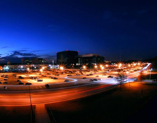 The National Security Agency headquarters at night