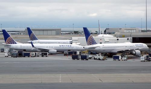 United Airlines jets at San Francisco International Airport on May 21, 2015
