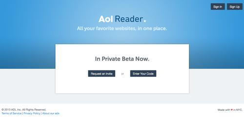 The landing page for AOL's new reader product.