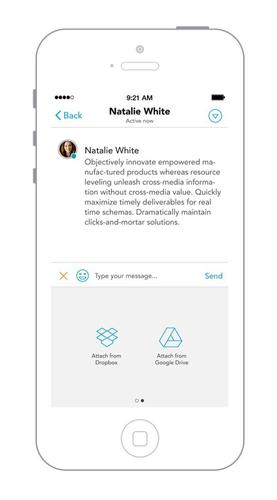 Enterprise messaging startup Avaamo lets users attach links to files from their cloud storage service, like Dropbox