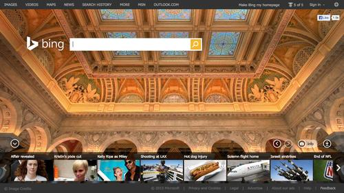 Bing's home page, as pictured on Nov. 1, 2013.