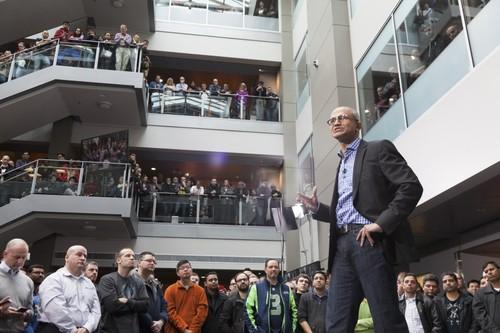 Satya Nadella speaks to Microsoft employees July 10, 2014