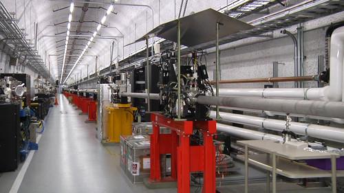 The LCLS Transport Hall at SLAC. The X-ray laser beam travels through the pipe.