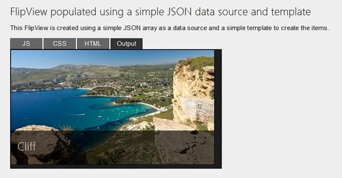 The WinJS preview site demonstrates some of WinJS' capabilities, such as this FlipView gallery