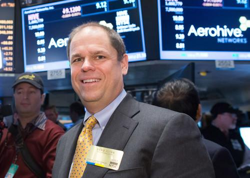 Aerohive Networks CEO and President David Flynn on the floor of the New York Stock Exchange on Friday as the company made its initial public offering.
