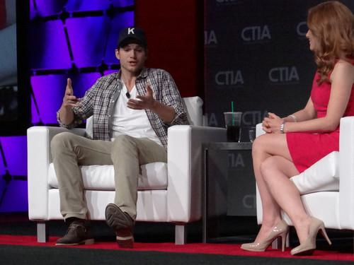 Ashton Kutcher was interviewed by CNBC reporter Julia Boorstin in a keynote session on the final day of CTIA Wireless on Thursday.