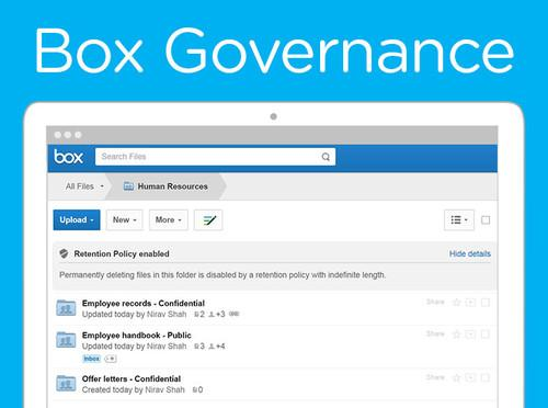 Box's new Governance tool for managing sensitive data.