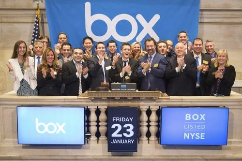 Box CEO Aaron Levie and others at the open of the New York Stock Exchange as the company's shares begin trading