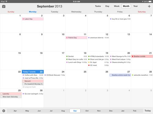 The Month view on the iPad is simple and elegant, and it provides easy access to the app's tools.