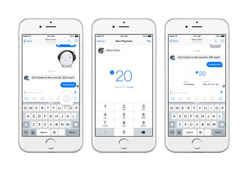 Facebook's Messenger app now lets friends send payments to each other.