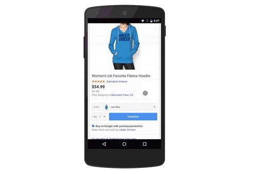 A new link in some ads in Google's mobile search results will let users buy products like this hoodie.