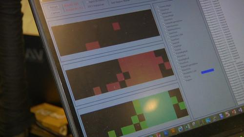 "What Microsoft Research's gesture-sensing keyboard ""sees"" when a user hovers his hand over the device."