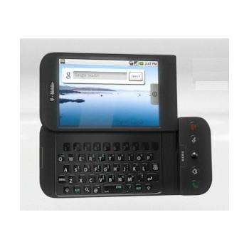 T-Mobile G1 HTC Android phone has a full QWERTY keyboard and a slide-out touchscreen