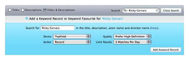 IceTV's Keyword Record service