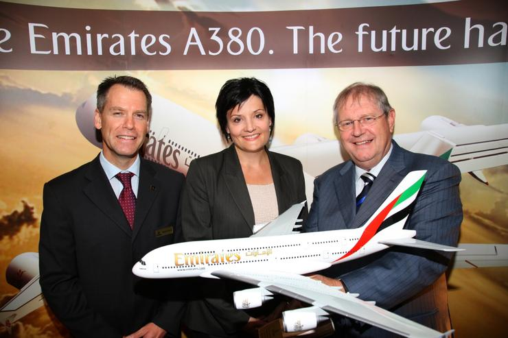 Left to right: Emirates' Australian vice-president Stephen Pearse; NSW tourism minister Jodi McKay; Richard Vaughan, Emirates' senior vice-president of commercial operations, East Asia and Australasia.