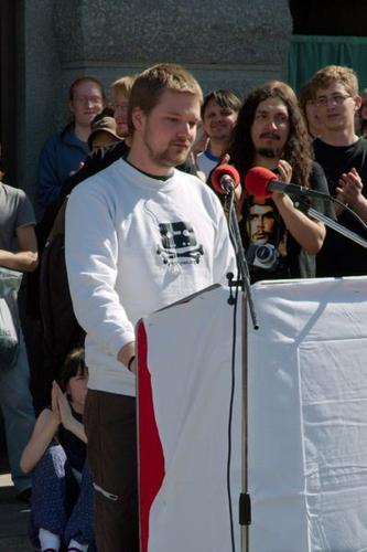 Pirate Bay operator Fredrik Neij speaking at a pro-piracy protest in Stockholm. Credit: Jon Åslund