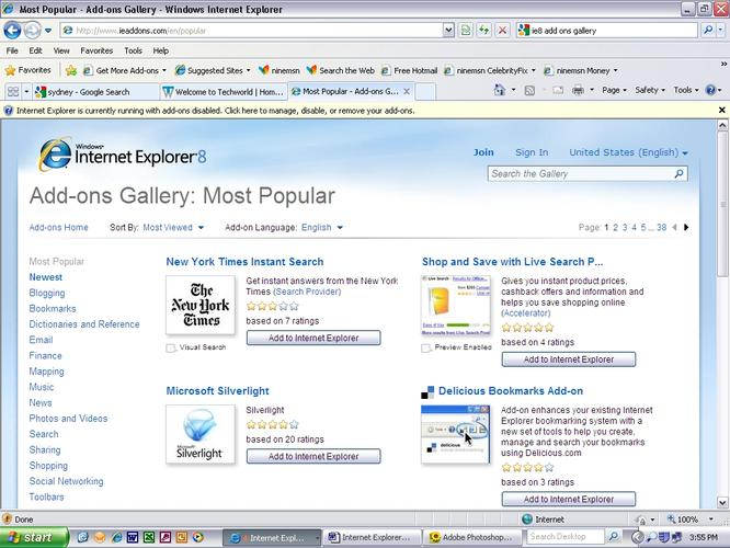 IE 8 also features and Add-Ons gallery