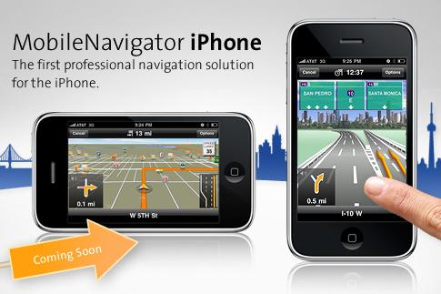 The full version of Navigon's MobileNavigator for iPhone app will be available soon.