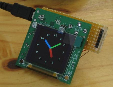 An ARM7 based OLED analogue clock face, courtesy of www.youritronics.com