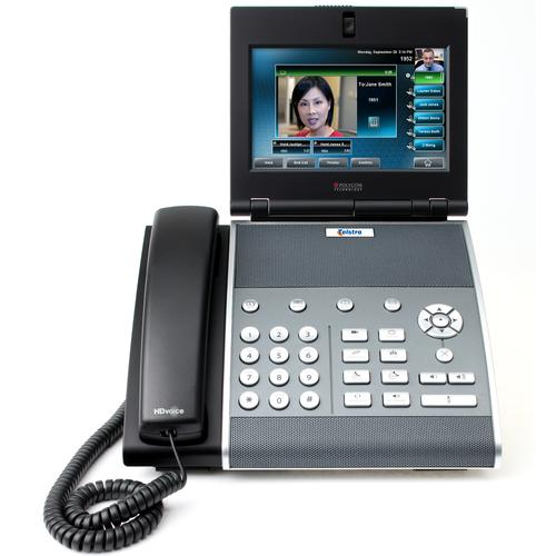 The Telstra VVX 1500 Business Media Phone has high-definition voice capabilities, a 7in touch screen, Gigabit Ethernet and an integrated camera.