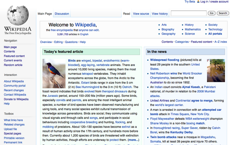 Wikipedia's new layout, dubbed Vector