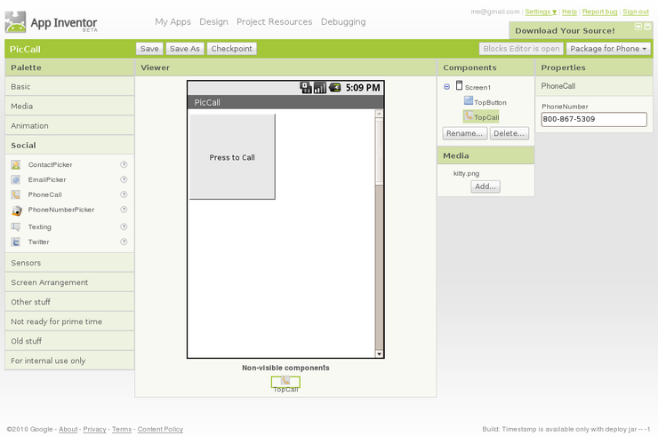 Create an Android app in a Web browser with Google App Inventor