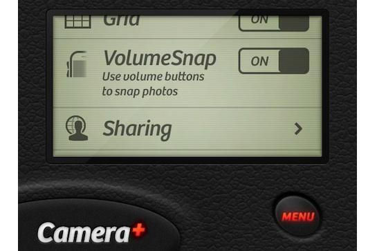 The VolumeSnap feature as it will appear in the Camera+ iPhone app