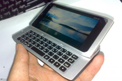 A spy shot of what is believed to be the Nokia N9 smartphone