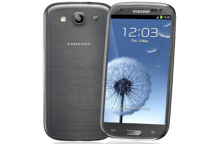 "The Samsung Galaxy S III 4G, pictured above in ""titanium gray""."