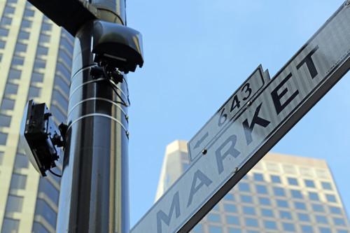 San Francisco activated outdoor Wi-Fi access points for a free network along Market Street on Monday.